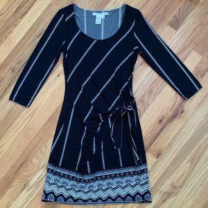 MAX STUDIO Black/Cream 3/4 Sleeve Dress EUC!!